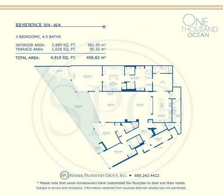 Residence 304-604 Floorplan at One Thousand Ocean, Luxury Waterfront Condo