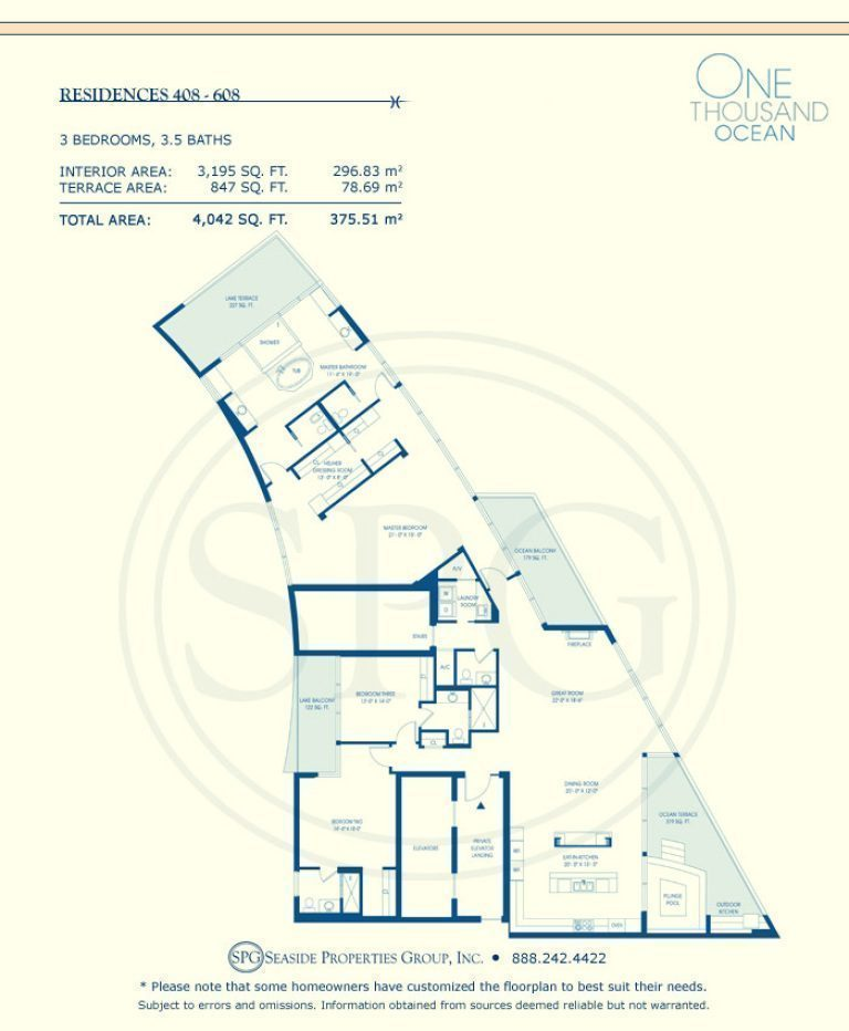 Residence 408-608 Floorplan at One Thousand Ocean, Luxury Waterfront Condo