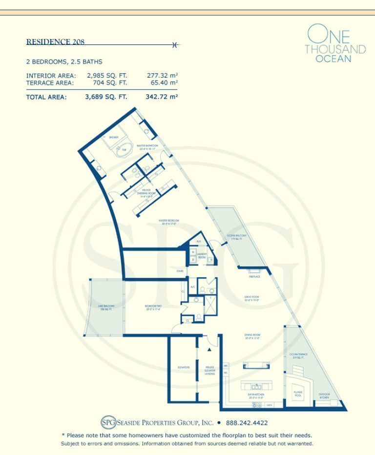 Residence 208 Floorplan at One Thousand Ocean, Luxury Waterfront Condo