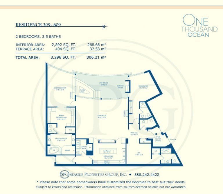 Residence 309-609 Floorplan at One Thousand Ocean, Luxury Waterfront Condo