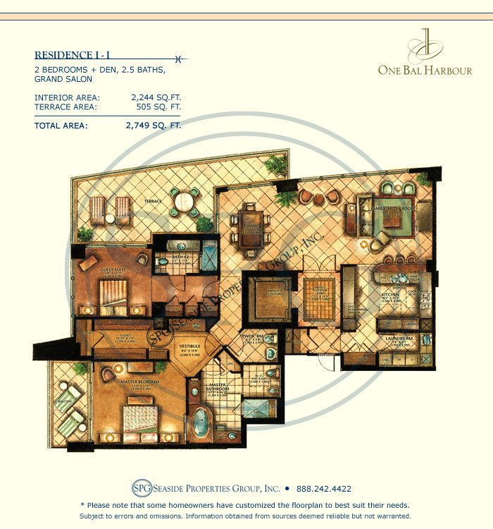 Residence II Floorplan at One Bal Harbour, Luxury Oceanfront Condo
