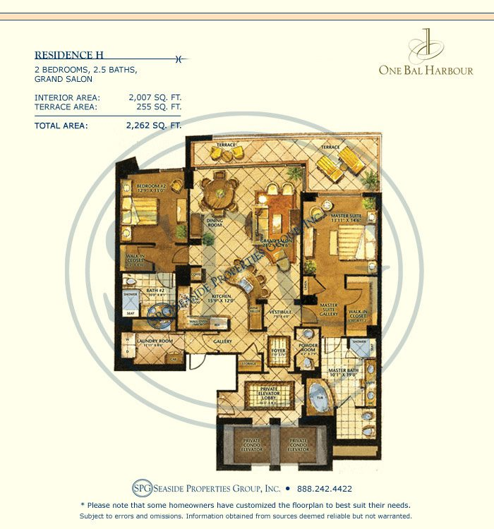 Residence H Floorplan at One Bal Harbour, Luxury Oceanfront Condo