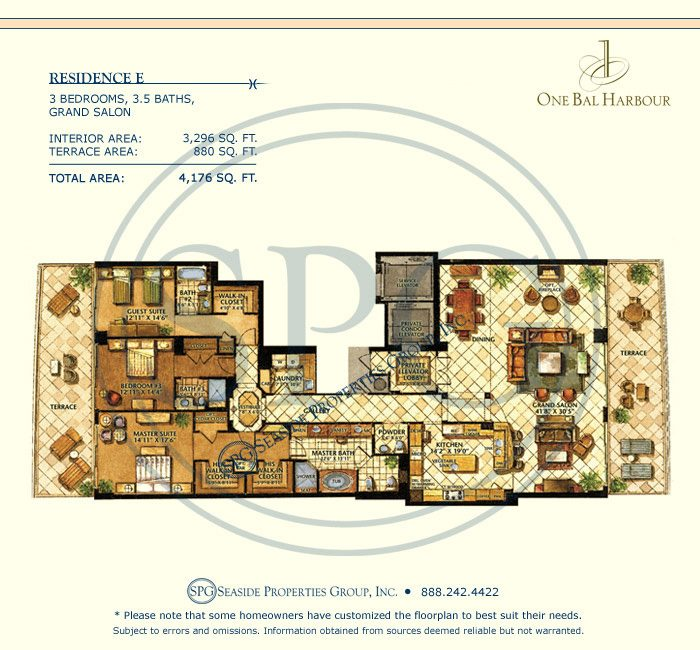 Residence E Floorplan at One Bal Harbour, Luxury Oceanfront Condo