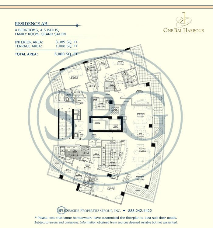 Residence AB Floorplan at One Bal Harbour, Luxury Oceanfront Condo