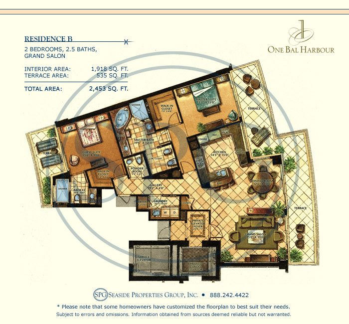 Residence B Floorplan at One Bal Harbour, Luxury Oceanfront Condo