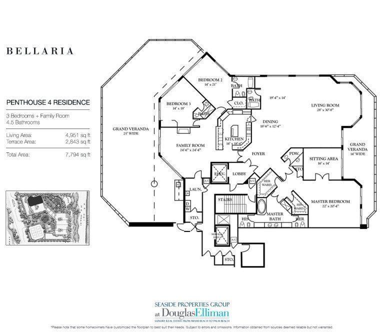 Bellaria floor plans luxury oceanfront condos in palm beach for Oceanfront floor plan