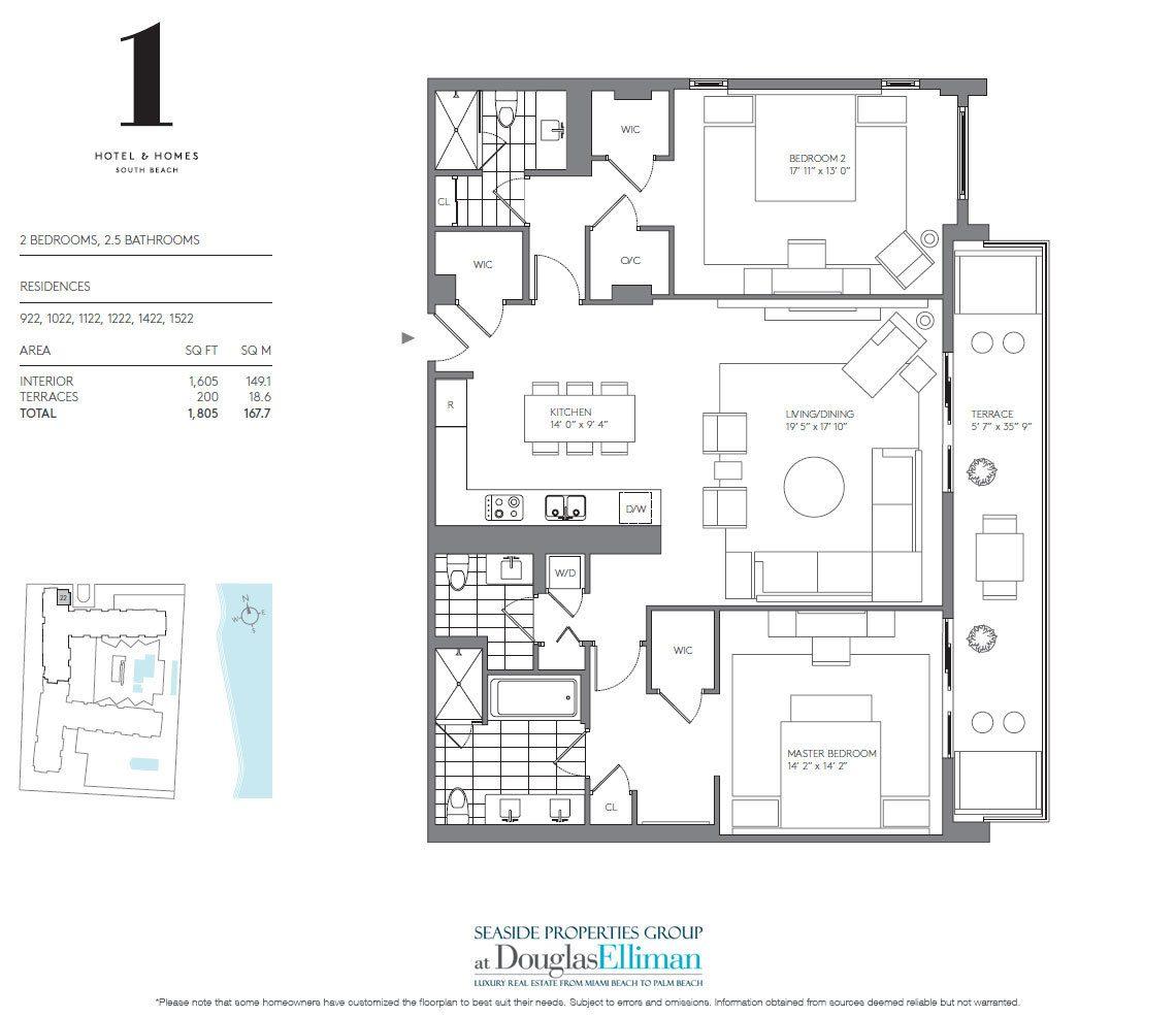Two Bedroom Suites In Miami: 1 Hotel & Homes Floor Plans, Luxury Oceanfront Condos In
