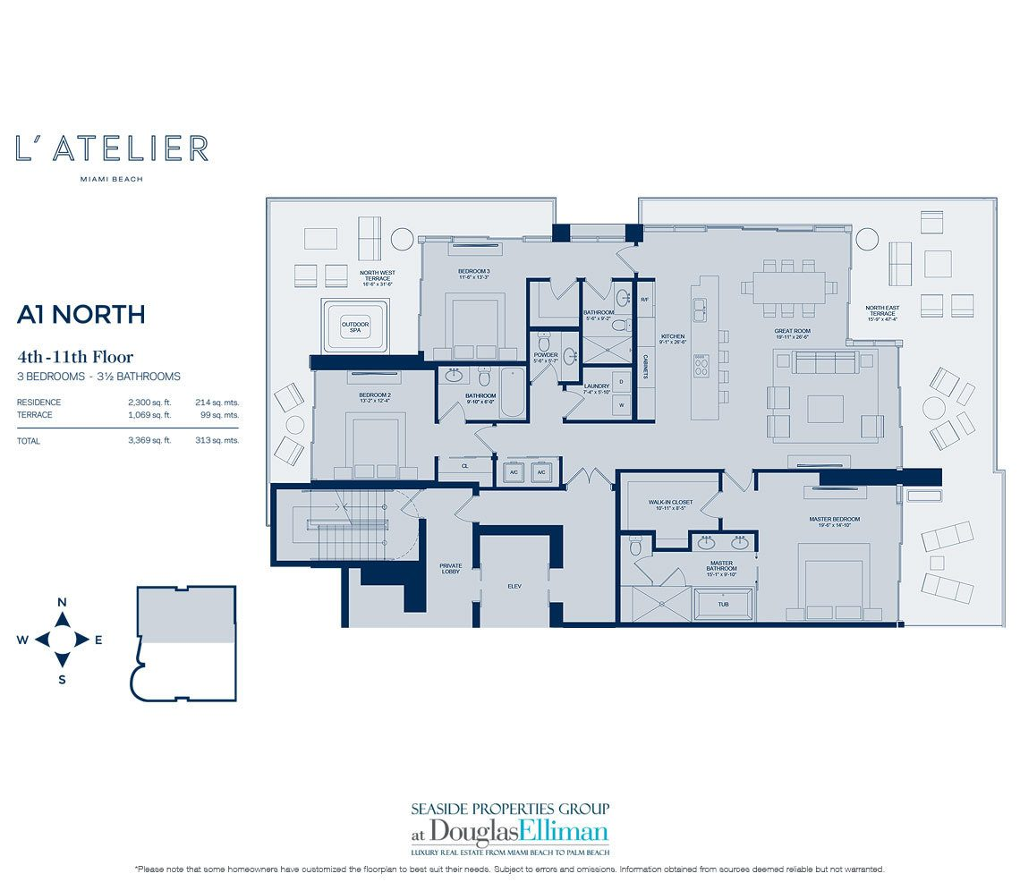 L 39 atelier floor plans luxury oceanfront condos in miami beach for Oceanfront floor plan