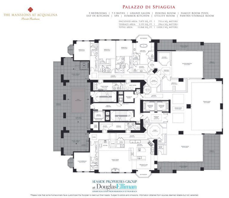 Mansions at acqualina floor plans luxury oceanfront for Miami mansion floor plans