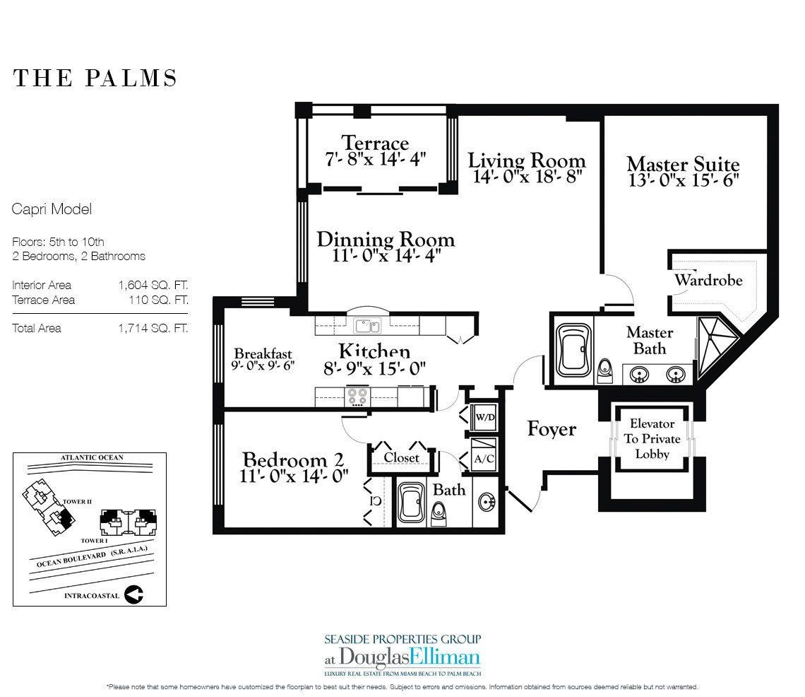 The palms floor plans luxury oceanfront condos in fort for Oceanfront floor plan