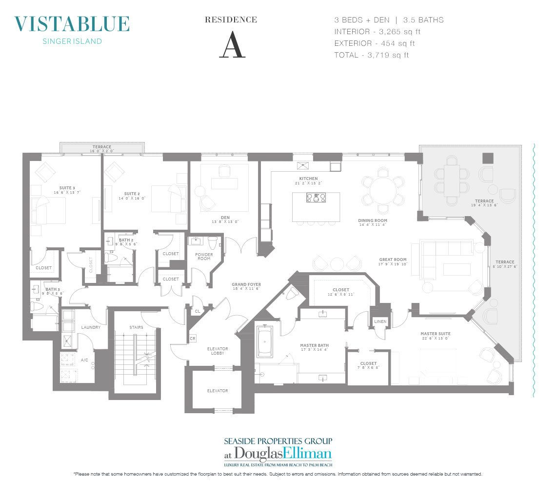 The Residence A Floorplan at VistaBlue Singer Island, Luxury Oceanfront Condos in Riviera Beach, Florida 33404.