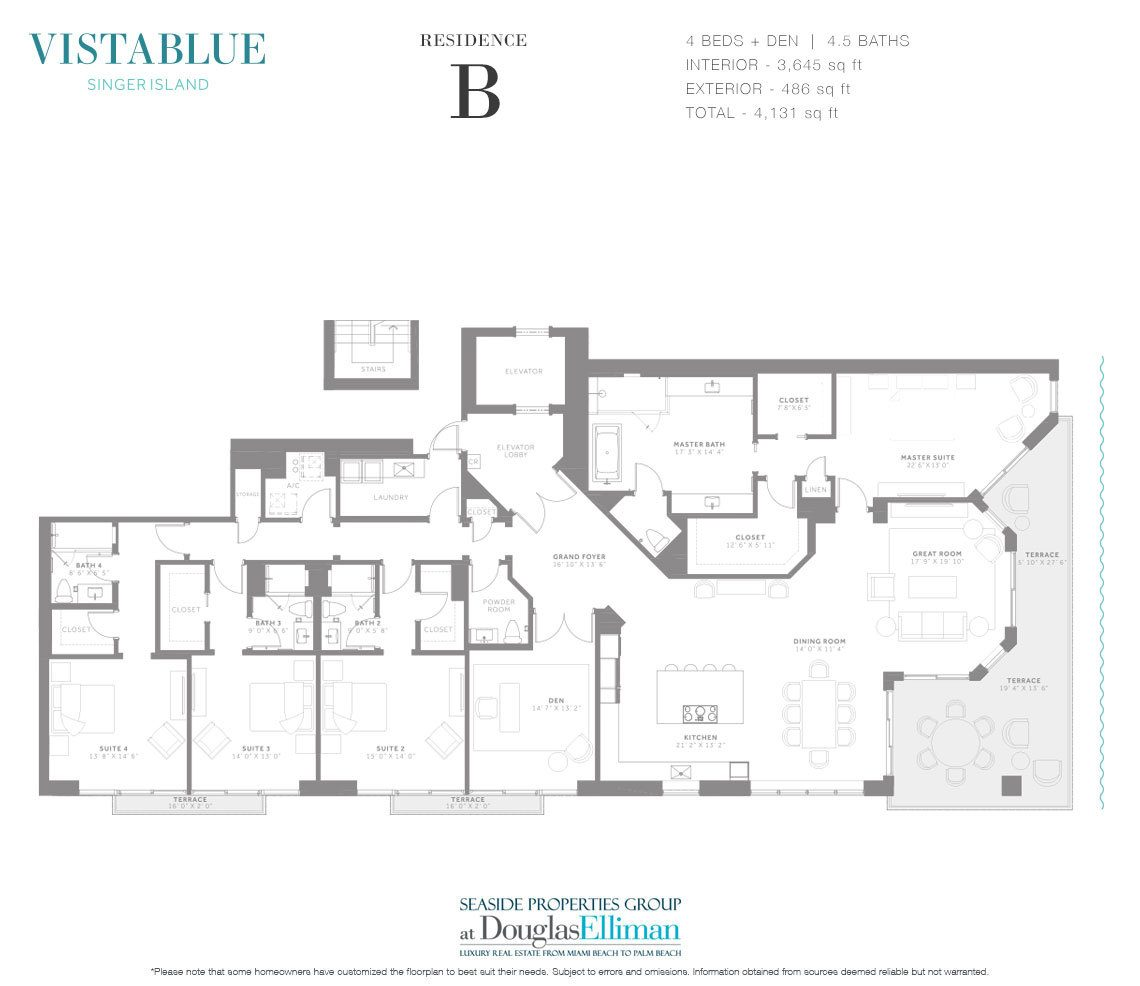 The Residence B Floorplan at VistaBlue Singer Island, Luxury Oceanfront Condos in Riviera Beach, Florida 33404.