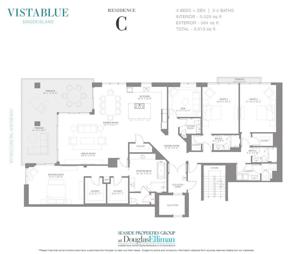 The Residence C Floorplan at VistaBlue Singer Island, Luxury Oceanfront Condos in Riviera Beach, Florida 33404.