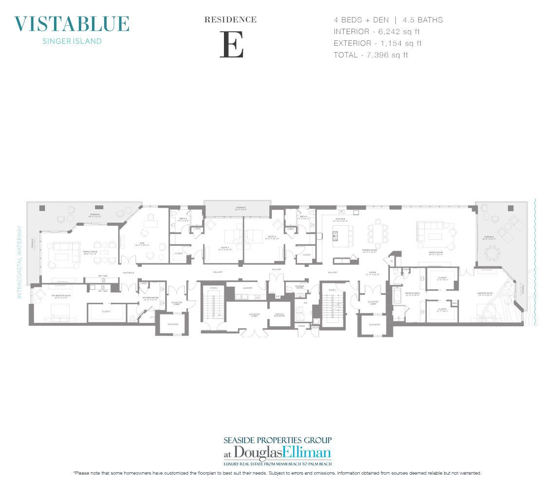The Residence E Floorplan at VistaBlue Singer Island, Luxury Oceanfront Condos in Riviera Beach, Florida 33404.