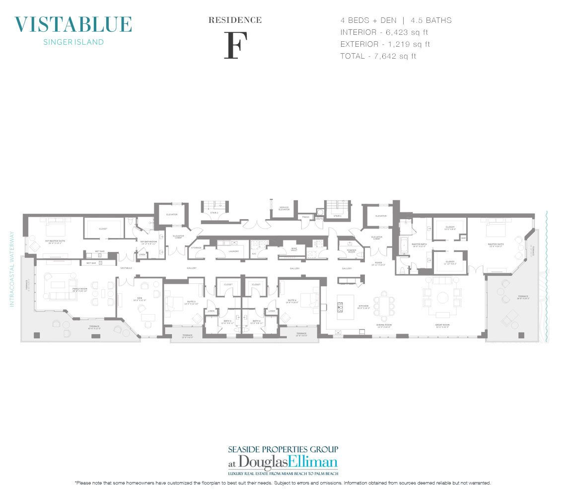 The Residence F Floorplan at VistaBlue Singer Island, Luxury Oceanfront Condos in Riviera Beach, Florida 33404.