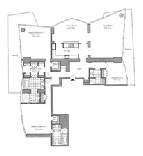 Thumbnail Residence 09 Floorplan at The Setai, Luxury Oceanfront Condo Residences on Miami Beach, Florida 33139
