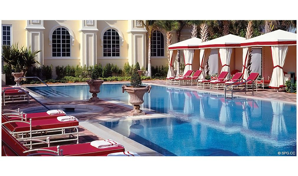 Pool Deck at Acqualina, Luxury Oceanfront Condominiums Located at 17885 Collins Avenue, Sunny Isles Beach, FL 33160