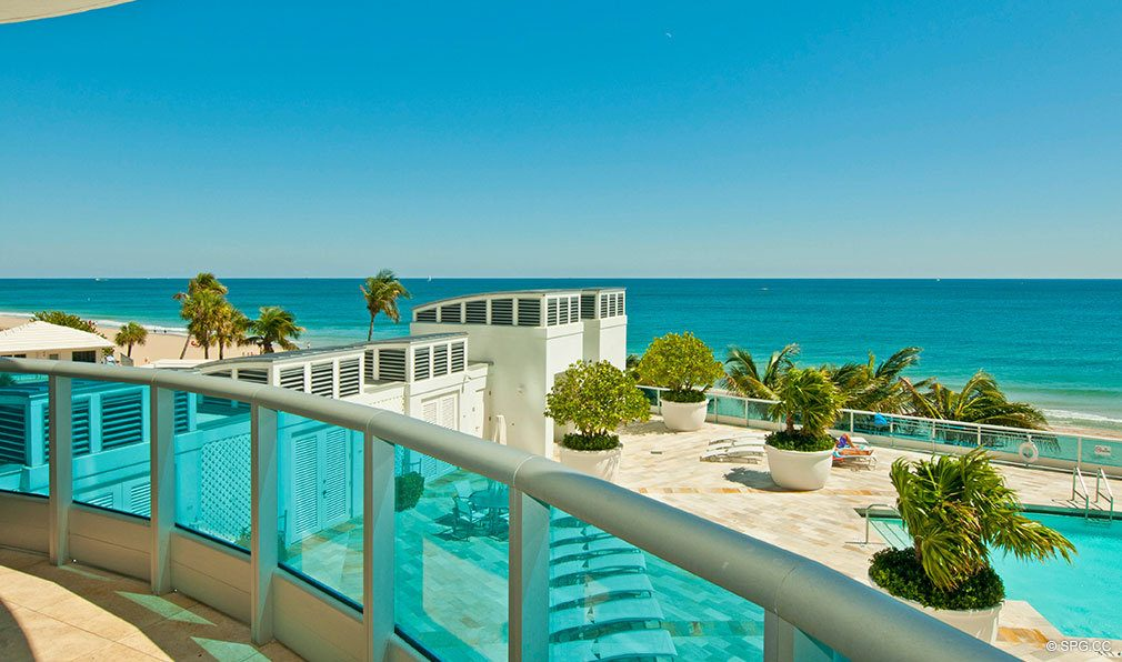 Pool Deck and Ocean Views at Aquazul, Luxury Oceanfront Condominiums Located at 1600 South Ocean Boulevard, Lauderdale-by-the-Sea, FL 33062