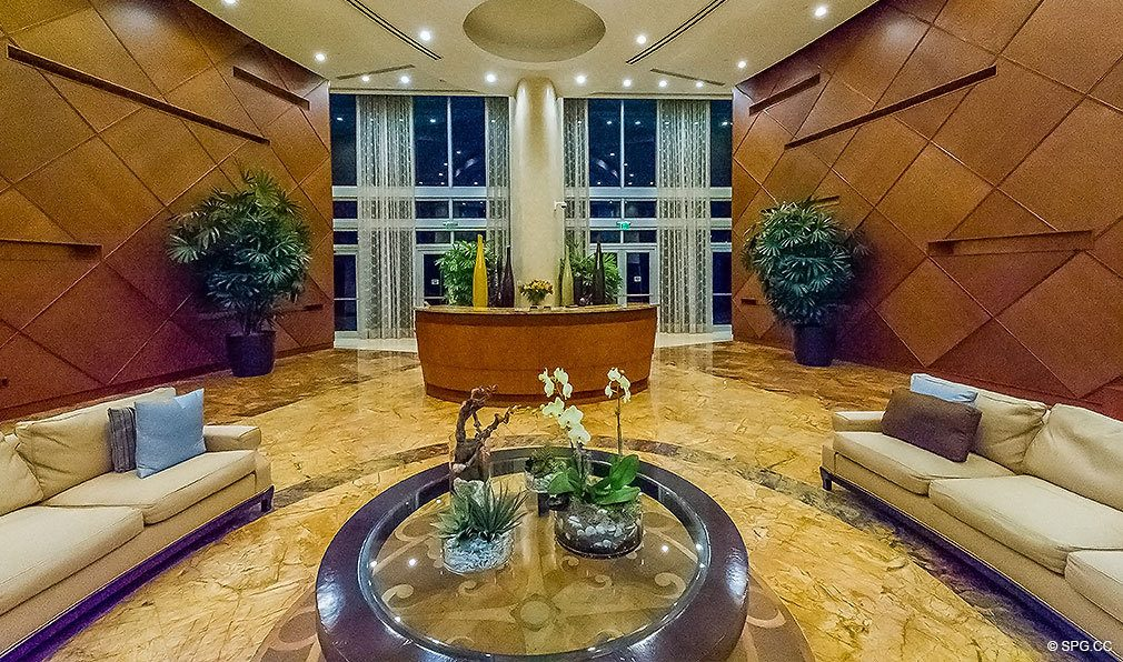 Elegant Lobby at Aquazul, Luxury Oceanfront Condominiums Located at 1600 South Ocean Boulevard, Lauderdale-by-the-Sea, FL 33062