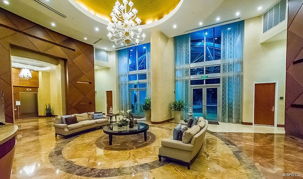 Beautiful Lobby at Aquazul, Luxury Oceanfront Condominiums Located at 1600 South Ocean Boulevard, Lauderdale-by-the-Sea, FL 33062