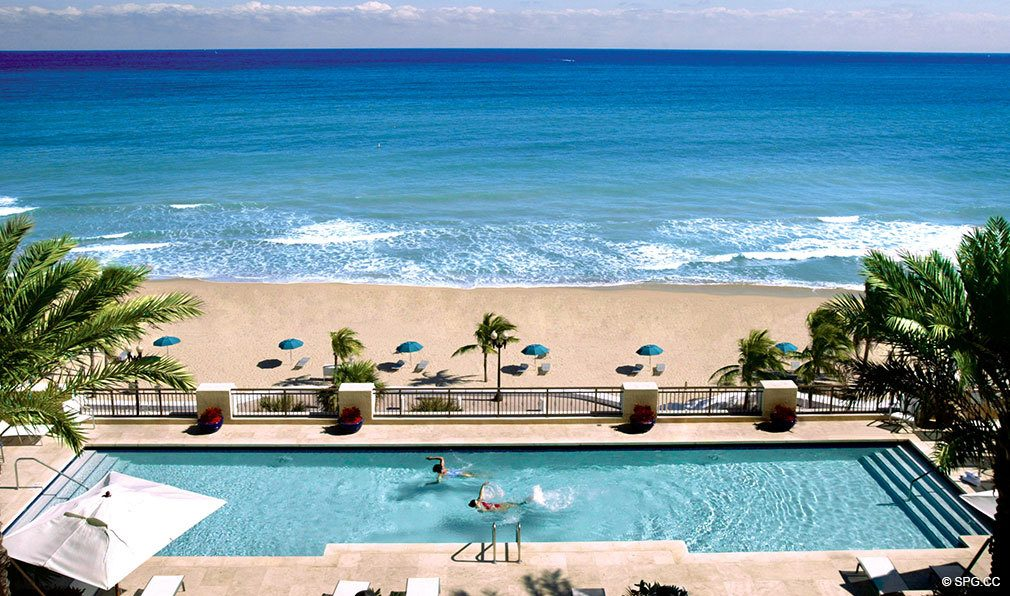 Pool Deck at The Atlantic, Luxury Oceanfront Condominiums Located at 601 North Fort Lauderdale Beach Blvd, FL 33304