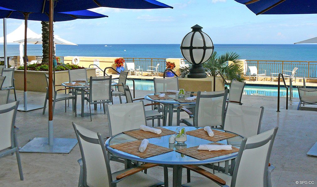 Poolside Dining at The Atlantic, Luxury Oceanfront Condominiums Located at 601 North Fort Lauderdale Beach Blvd, FL 33304