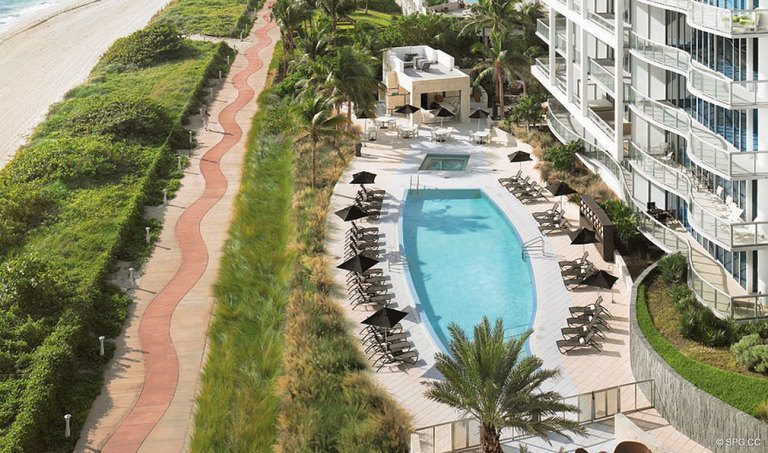 View of the Pool at Canyon Ranch Living, Luxury Oceanfront Condominiums Located at 6799-6899 Collins Avenue, Miami Beach, FL 33141