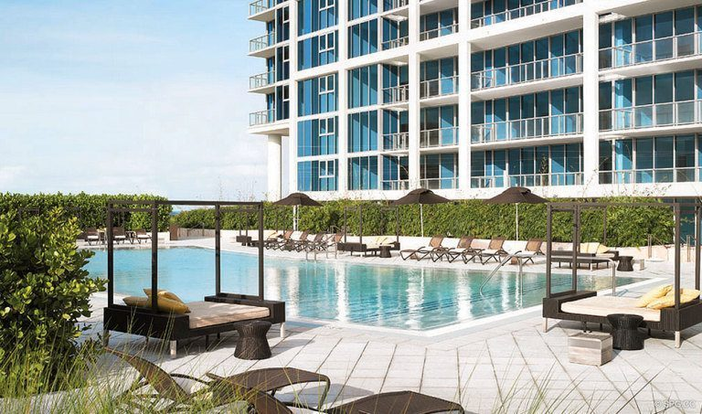 Pool Deck at Canyon Ranch Living, Luxury Oceanfront Condominiums Located at 6799-6899 Collins Avenue, Miami Beach, FL 33141