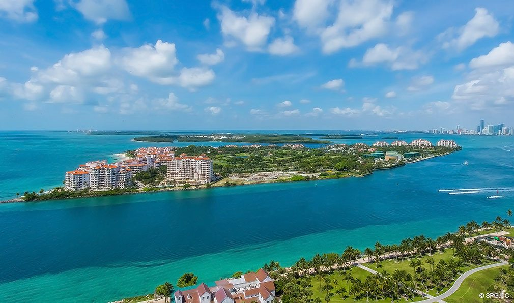 Inlet and Fisher Island View from Continuum, Luxury Oceanfront Condos Located at 50-100 South Pointe Dr, Miami Beach, FL 33139