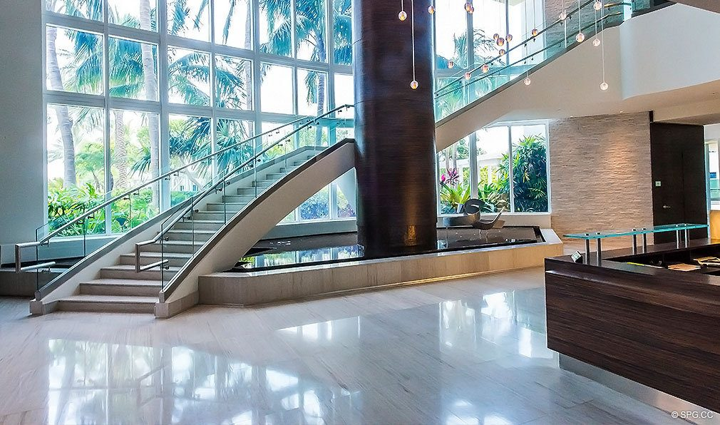 Lobby at Continuum, Luxury Oceanfront Condos Located at 50-100 South Pointe Dr, Miami Beach, FL 33139