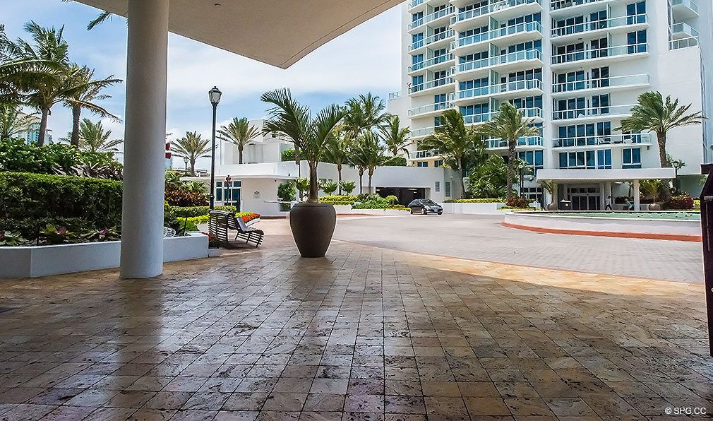 Entrance to Continuum, Luxury Oceanfront Condos Located at 50-100 South Pointe Dr, Miami Beach, FL 33139