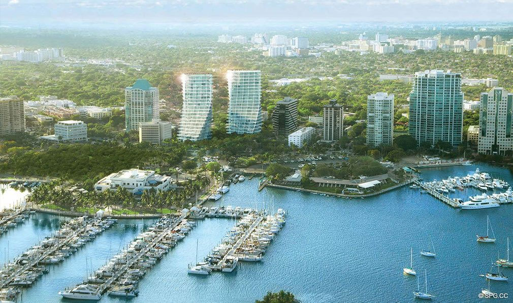 Aerial View of Grove at Grand Bay, Luxury Waterfront Condominiums at 2669 South Bayshore Dr, Miami, FL 33133
