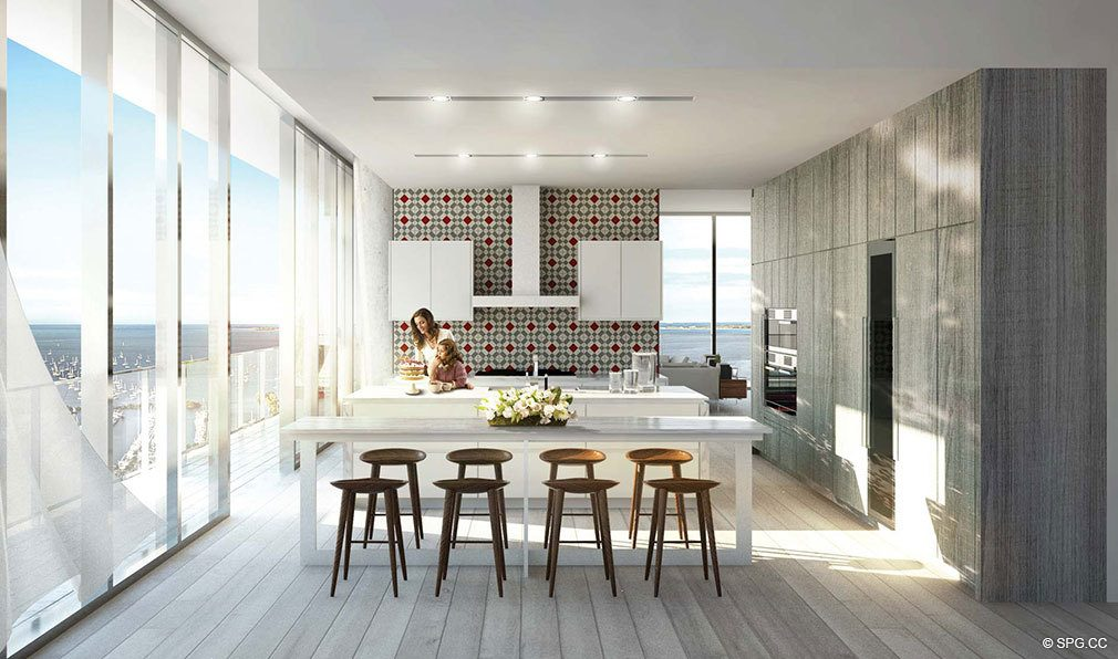 Kitchen at Grove at Grand Bay, Luxury Waterfront Condominiums at 2669 South Bayshore Dr, Miami, FL 33133