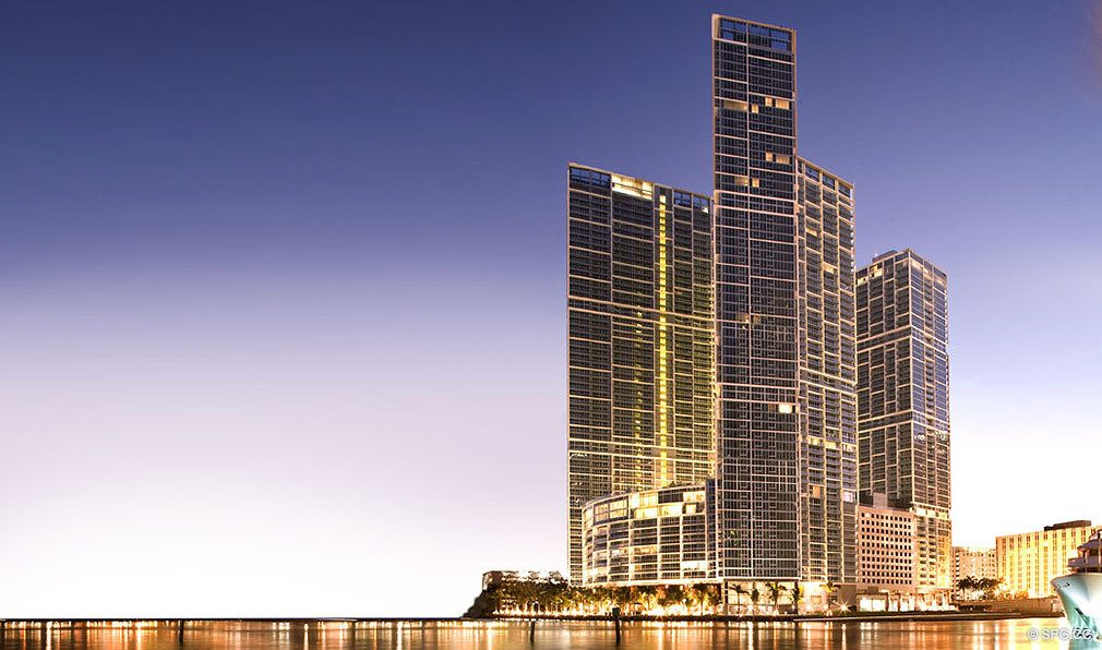 View of ICON Brickell, Luxury Waterfront Condominiums Located at 475 Brickell Ave, Miami, FL 33131