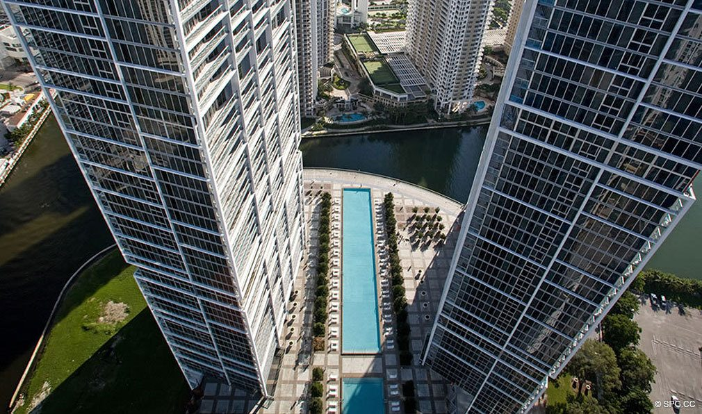 Aerial View of ICON Brickell, Luxury Waterfront Condominiums Located at 475 Brickell Ave, Miami, FL 33131
