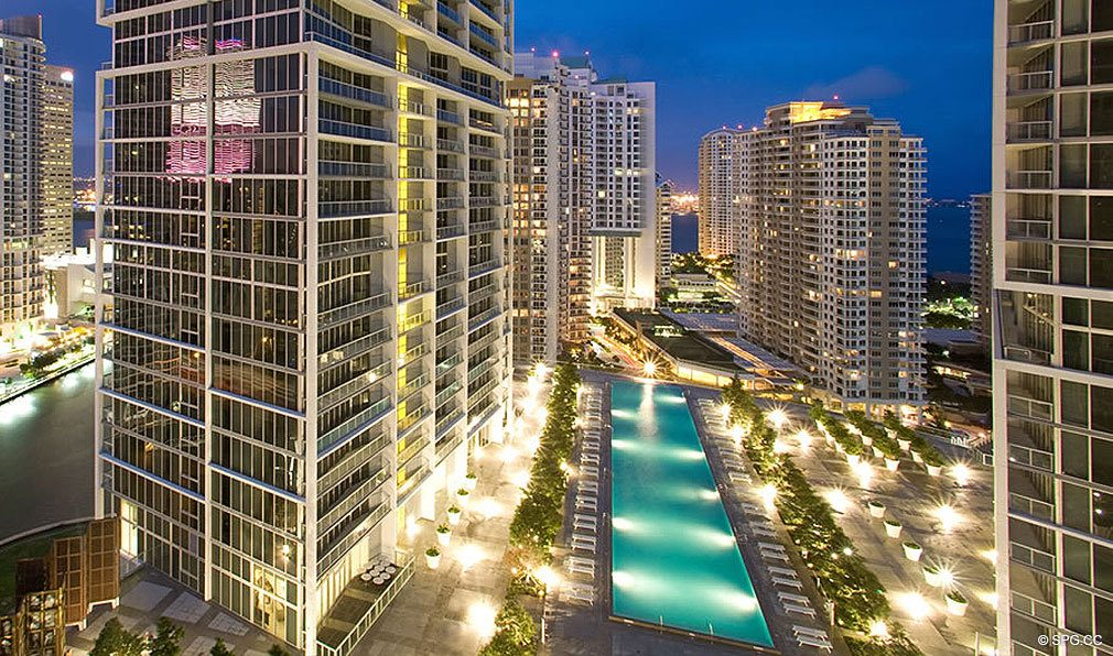 Pool Deck at Night at ICON Brickell, Luxury Waterfront Condominiums Located at 475 Brickell Ave, Miami, FL 33131