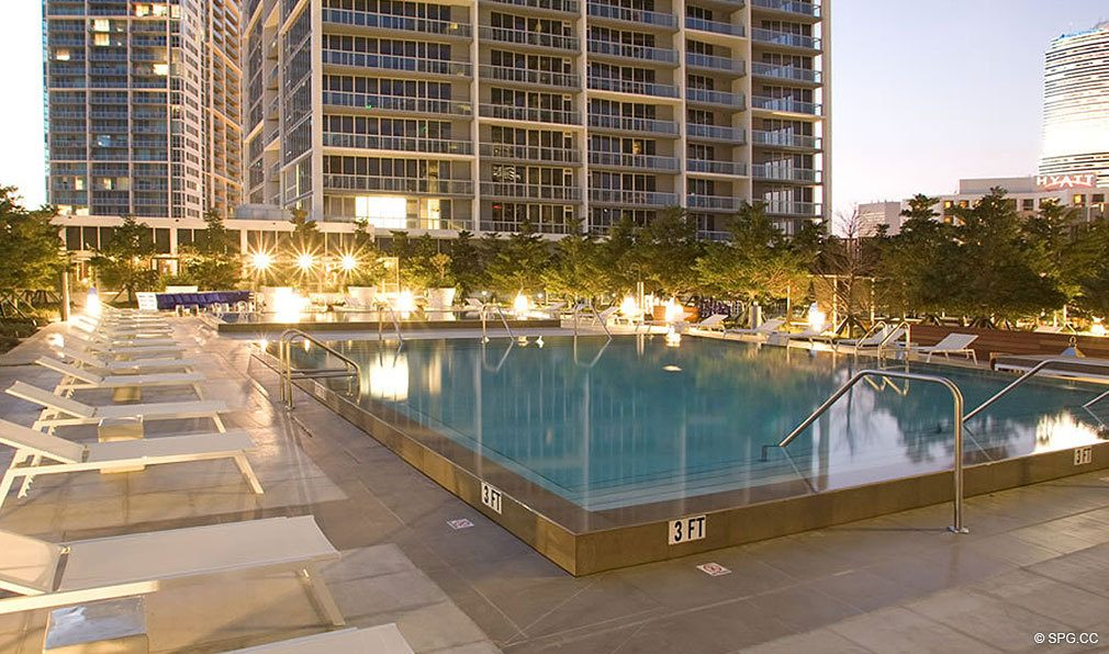 Pool Deck at ICON Brickell, Luxury Waterfront Condominiums Located at 475 Brickell Ave, Miami, FL 33131