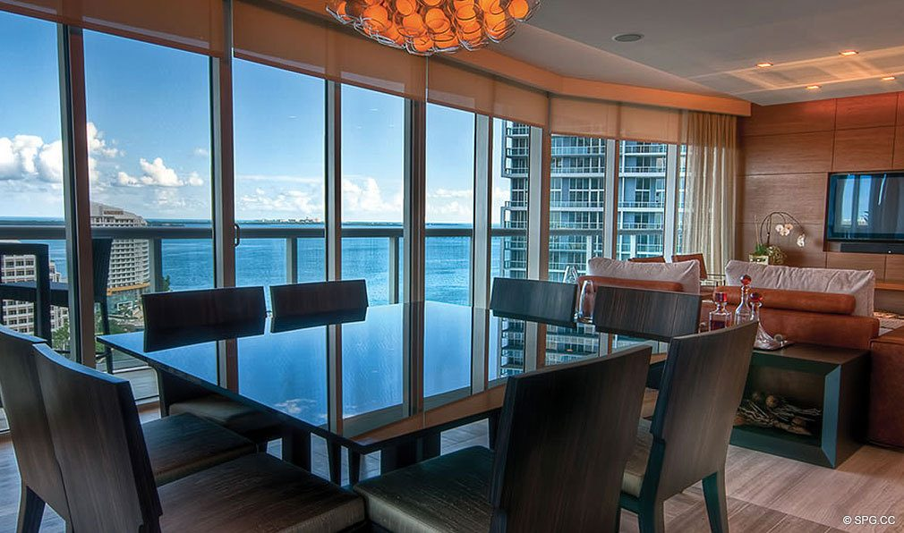 Dining Room at ICON Brickell, Luxury Waterfront Condominiums Located at 475 Brickell Avenue, Miami, Florida 33131