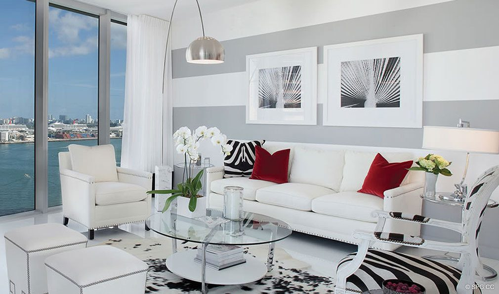 Living Room Design at ICON Brickell, Luxury Waterfront Condominiums Located at 475 Brickell Ave, Miami, FL 33131