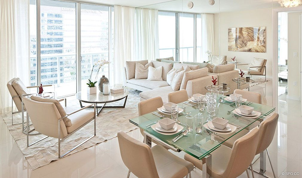 Living Room and Dining Room at ICON Brickell, Luxury Waterfront Condominiums Located at 475 Brickell Ave, Miami, FL 33131