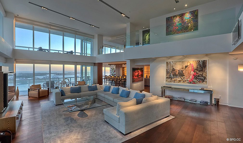 Living Room At ICON South Beach Luxury Waterfront Condominiums Located 450 Alton Rd