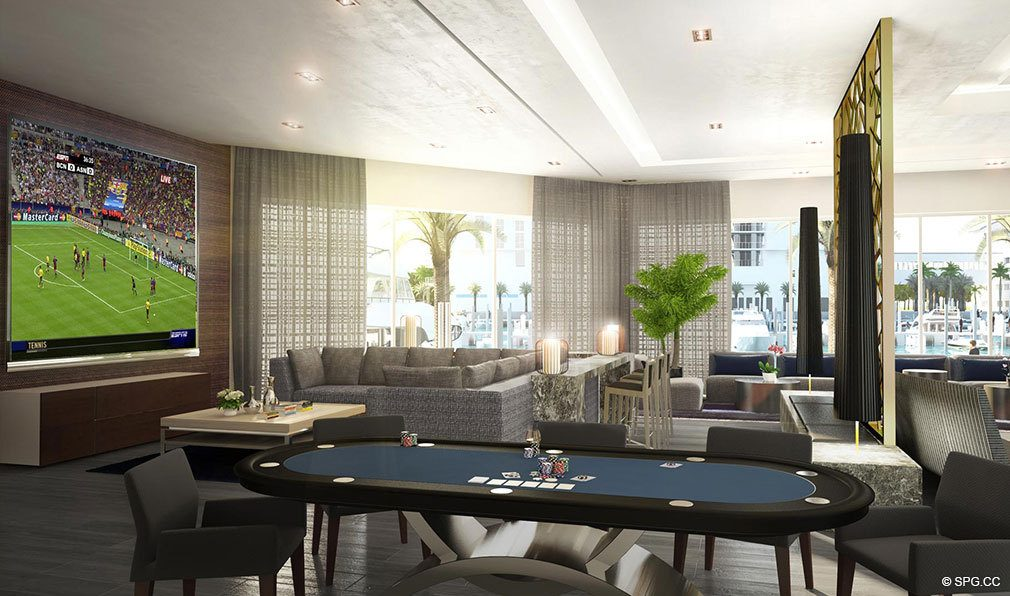 Club Room At Marina Palms Yacht Luxury Waterfront Condominiums Located 17201 Biscayne Blvd