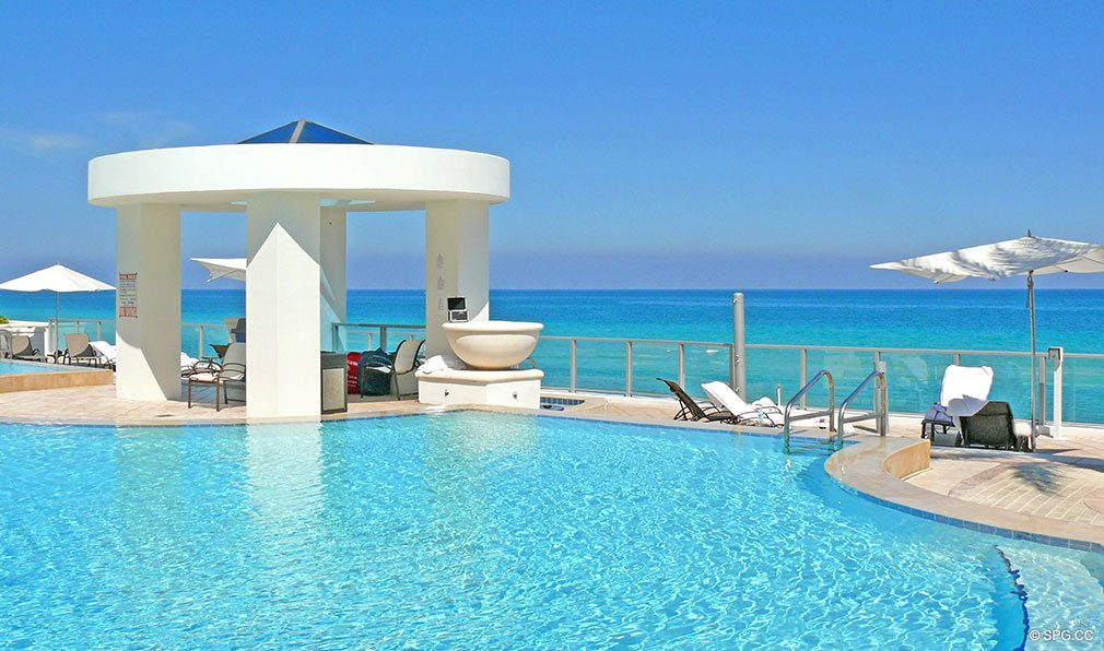 Ocean Palms Pool, Luxury Oceanfront Condominiums Located at 3101 S Ocean Dr, Hollywood Beach, FL 33019