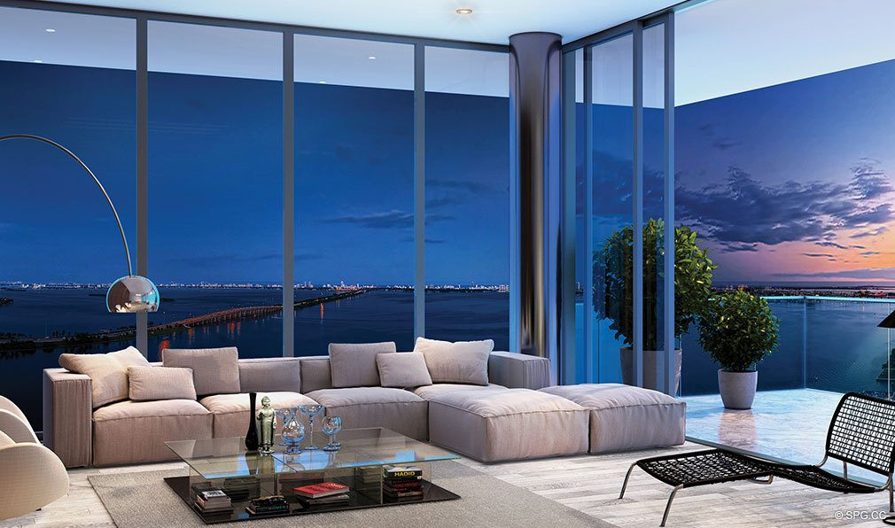 One paraiso luxury waterfront condos in miami for W living room miami