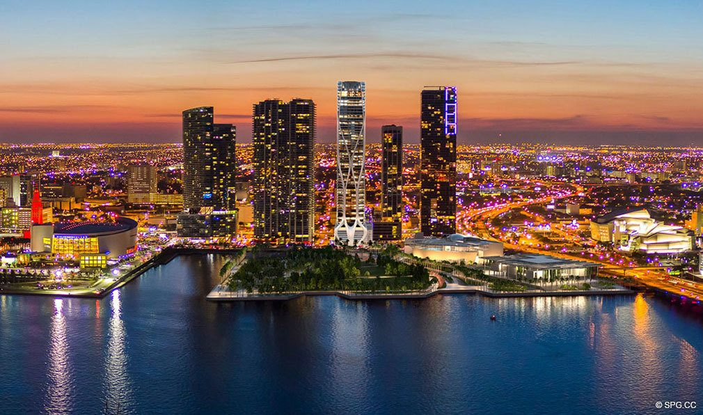 View of One Thousand Museum at Night, Luxury Waterfront Condominiums Located at 1000 Biscayne Blvd, Miami, FL 33132