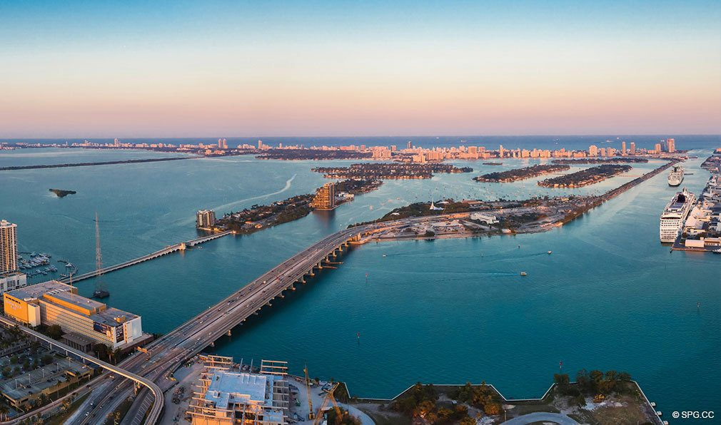 Water Views from One Thousand Museum, Luxury Waterfront Condominiums Located at 1000 Biscayne Blvd, Miami, FL 33132