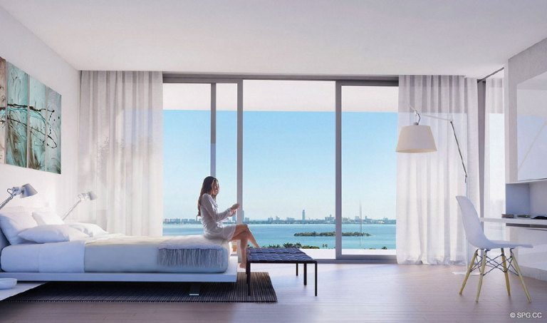Bedroom at Paraiso Bay, Luxury Waterfront Condominiums Located at 600 NE 31st St, Miami, FL 33137