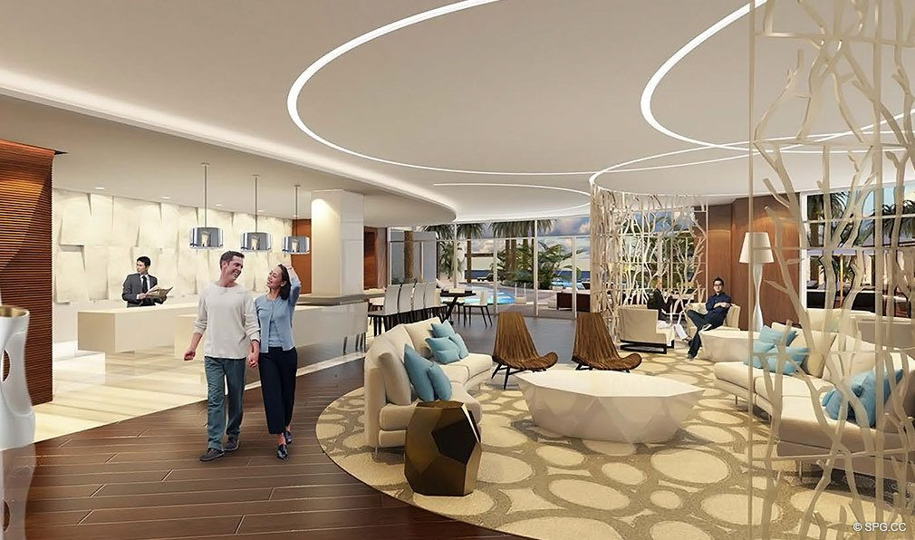 Club Room at Paramount, Luxury Oceanfront Condominiums Located at 700 N Atlantic Blvd, Ft Lauderdale, FL 33304