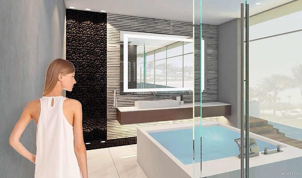 Master Bath at Paramount, Luxury Oceanfront Condominiums Located at 700 N Atlantic Blvd, Ft Lauderdale, FL 33304