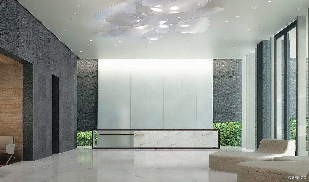 Lobby at Reach Brickell City Centre, Luxury Seaside Condominiums Located at 700 Brickell Ave, Miami, FL 33131